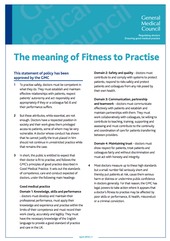 GMC guidance on Fitness to Practice