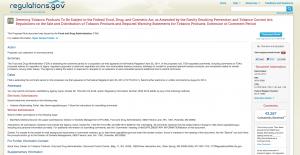 Screen shot FDA deeming regs page